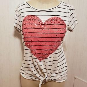 Delia's Tie Front Heart Tee
